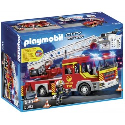 PLAYMOBIL-Camión de Bomberos y Escalera con Luces y Sonido