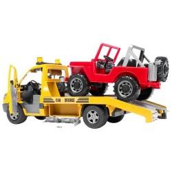 Bruder-Grúa transportadora de coches de juguete con Jeep