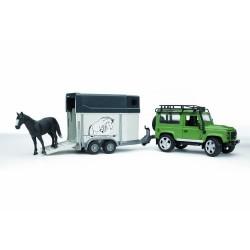 BRUDER-Land Rover Defender - Vehículo con remolque para caballos