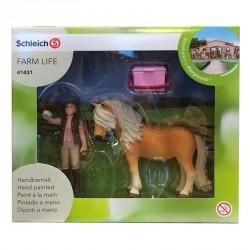 SCHLEICH-Cuidadora de caballos con pony islandesa