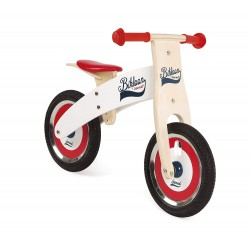 JANOD-Bikloon Bicicleta de madera Sin Pedales Roja y Blanca