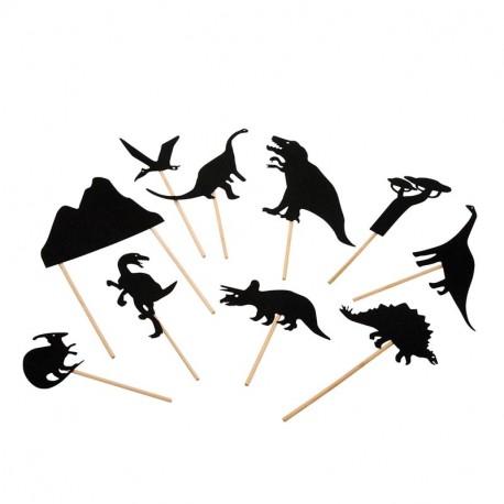 Moulin Roty-Juego de sombras chinas de Dinosaurios