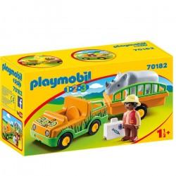 Playmobil  1.2.3 Vehículo del Zoo con Rinoceronte