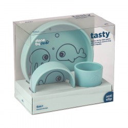 Done by Deer Silicone dinner set, Sea Blue